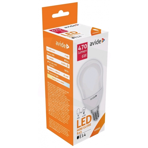 Avide LED Globe Mini B45 6W E14 NW 4000K