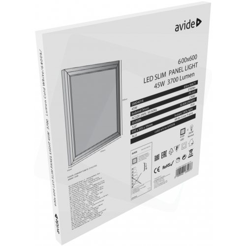 Avide LED Slim Panel 600x600x12mm 45W CW 6400K