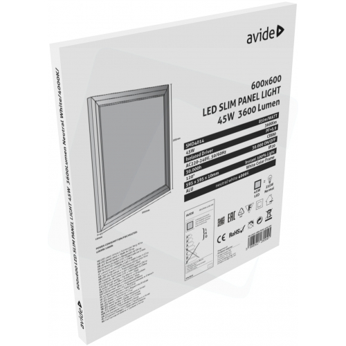 Avide LED Slim Panel 600x600x12mm 45W NW 4000K