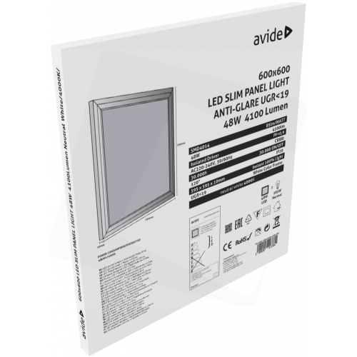 Avide LED Slim Panel 600x600x12mm 48W NW 4000K UGR