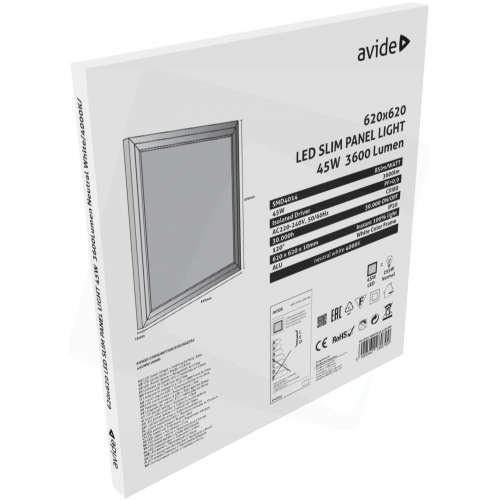 Avide LED Slim Panel 622x622x10mm 45W NW 4000K