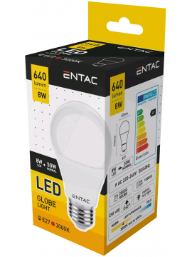 Entac LED Globe E27 8W WW 3000K