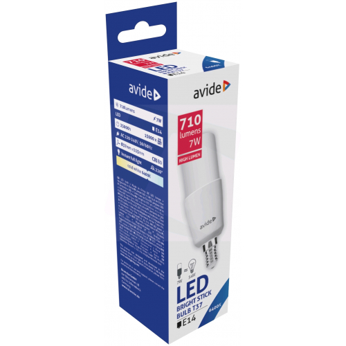Avide LED Bright Stick izzó T37 7W E14 CW 6400K