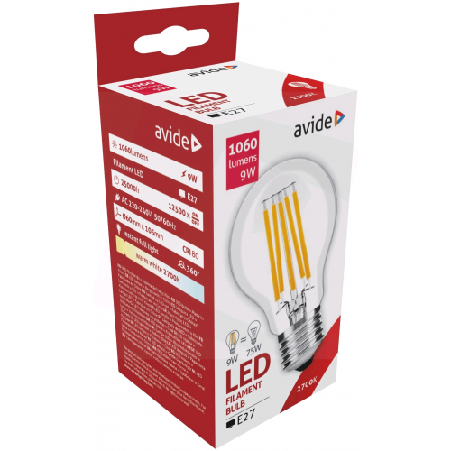 Avide LED Filament Globe 9W E27 360° WW 2700K