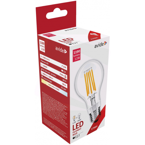 Avide LED Filament Globe 12W E27 360° WW 2700K