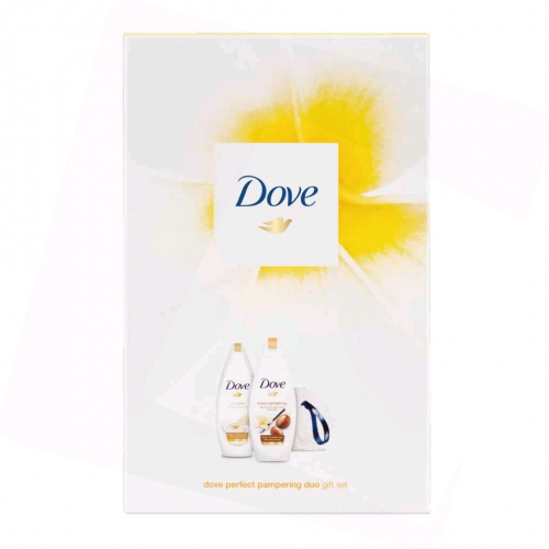 Dove Csomag Perfect Pampering Duo: 2db Tusfürdő (2x225ml) + Szivacs